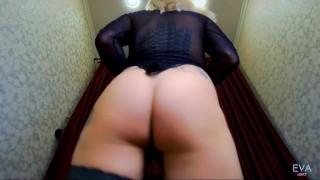 Sexy Shemale Eva Lynx Solo Masturbation In Black Nylon Fetish
