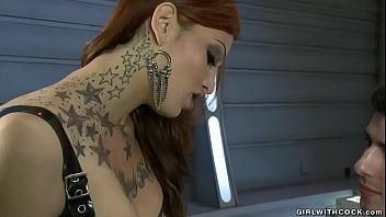 Latex TS Bondage Dominatrix Ass Fucking Male Sissy
