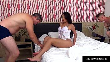 Shemale pornstar Julia Steinkopf bareback threesome