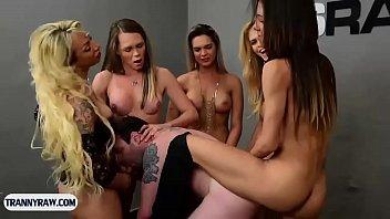Horny sissy guy gangbanged by Latina shemales