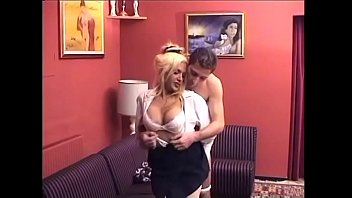 Big tits blonde shemale with nylons getting fucked and sucked