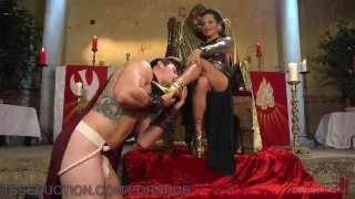 BDSM TS Goddess Dominates Male Slave Anal Pounding