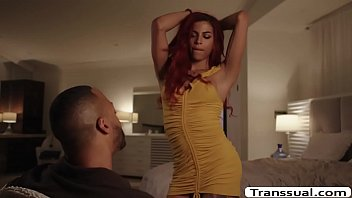 Ebony shemale redhead fuck freanzy with BBC and ass